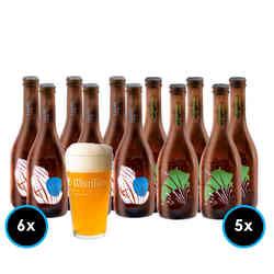 KIT LA MONTAÑA Nº2: 6x Cerveza La Montaña Lager 330cc + 5x Cerveza La Montaña Session IPA 330cc + 1x Vaso La Montaña