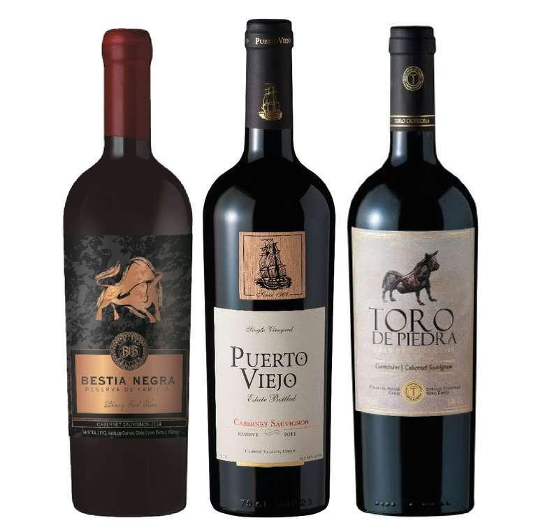 Vino Bestia Negra Cabernet Sauvignon 750cc + Vino Puerto Viejo Cabernet Sauvignon 750cc + Vino Toro de Piedra Cabernet Sauvignon 750cc