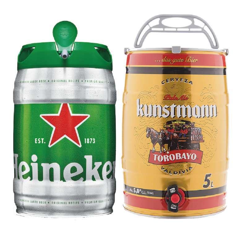 PACK BARRILES: Barril Cerveza Heineken 5 Litros + Barril Cerveza Kunstmann 5 Litros