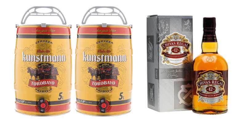 PACK BARRILES + CHIVAS: 2x Barril Cerveza Kunstmann 5 Litros + Whisky Chivas Regal 12 años 750cc