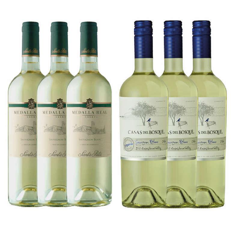 PACK VINOS BLANCOS Nº1: 3x Vino Medalla Real Reserva Sauvignon Blanc 750cc + 3x Vino Casas Del Bosque Reserva Sauvignon Blanc 750cc