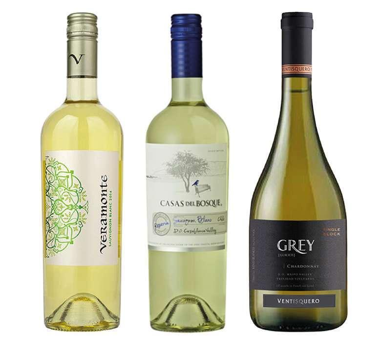 PACK VINOS BLANCOS Nº2: Vino Veramonte Reserva Sauvignon Blanc 750cc + Vino Casas Del Bosque Reserva Sauvignon Blanc 750cc + Vino Ventisquero Grey Chardonnay 750cc