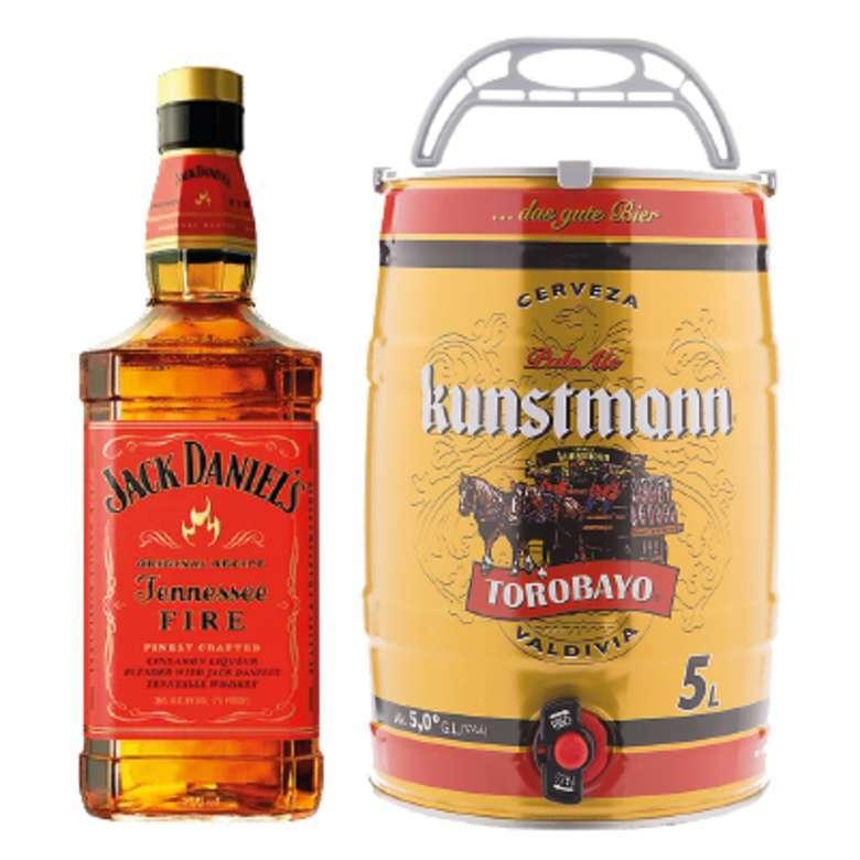 Whiskey Jack Daniels Tennessee Fire 750cc + Barril Cerveza Kunstmann 5 Litros