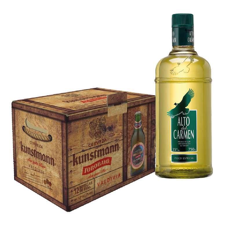 PACK TOROBAYO + ALTO: 12x Cerveza Kunstmann Torobayo Botella 330cc + Pisco Alto Del Carmen 750cc