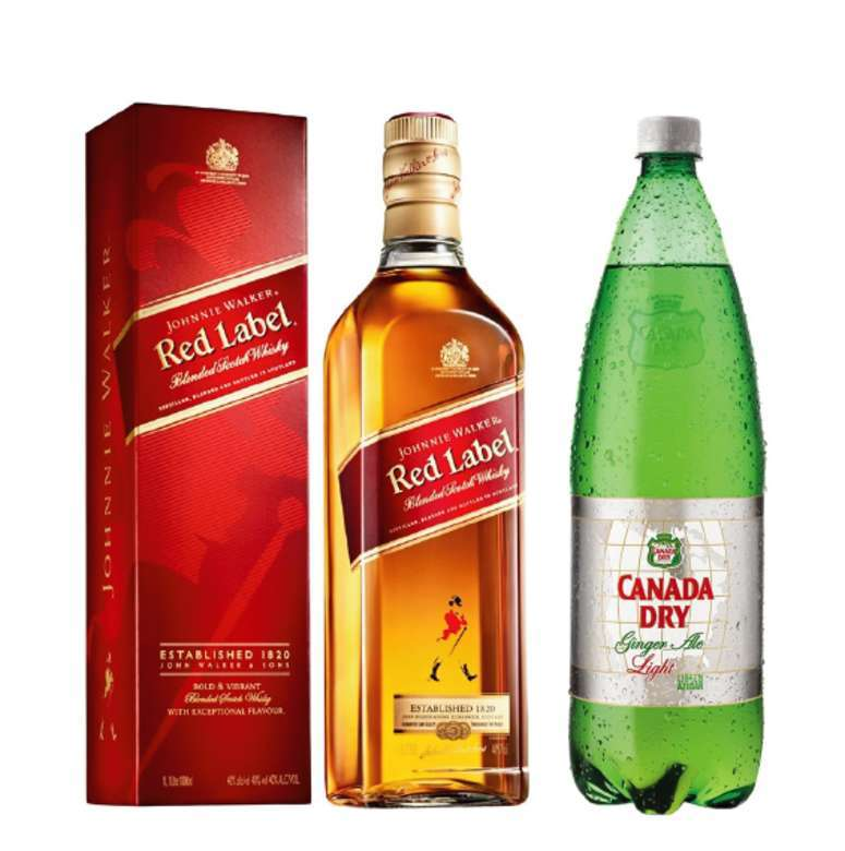 Johnnie Walker Red Label 750cc + Canada Dry Ginger Ale Light 1.5 Lts