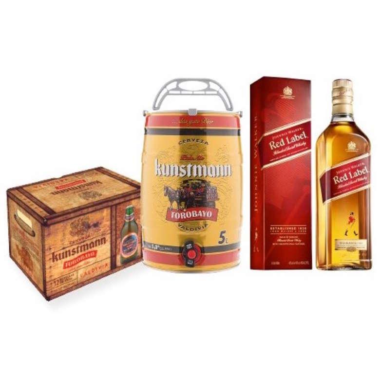 12x Cerveza Kunstmann Torobayo en Botellas 330cc + Barril de Cerveza Kunstmann 5 Litros + Whisky Johnnie Walker Red Label 750cc
