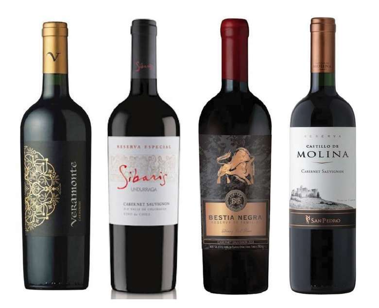 PACK VINOS RESERVA Nº3: Vino Veramonte Carmenere Reserva 750cc + Vino Undurraga Sibaris Cabernet Sauvignon 750cc + Vino Bestia Negra Cabernet Sauvignon 750cc + Vino Castillo de Molina Cabernet Sauvignon 750cc