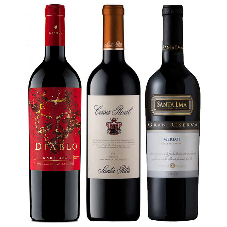 CYBER WINE PACK Nº2: 1x Vino Diablo Dark Red 750cc + 1x Vino Casa Real Carmenere 750cc + 1x Vino Santa Ema Gran Reserva Merlot 750cc