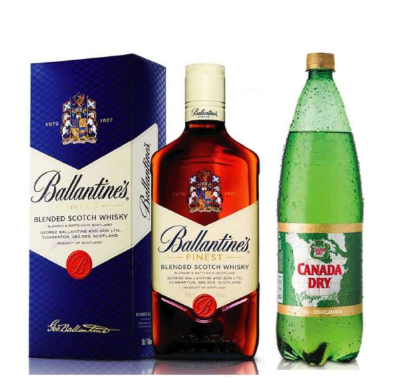 Whisky Ballantines Finest 750cc + Canada Dry Ginger Ale 1.5 lts.