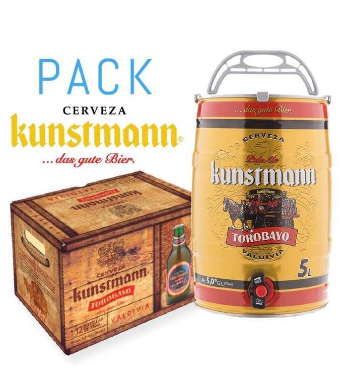 Pack Kunstmann: 12x Kunstmann Torobayo 330cc en Botellas + Barril 5 Litros Kunstmann Torobayo