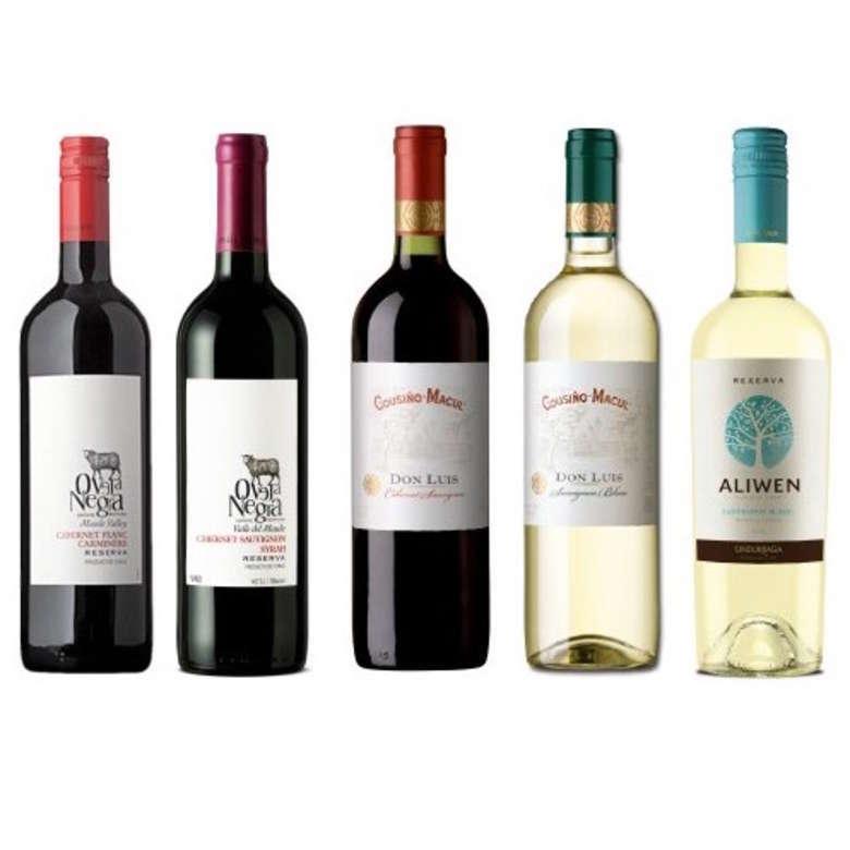 PACK VINOS MIX Nº2: Vinos Oveja Negra Cab Franc/Carm y Cab Sau/Syrah + Vinos Cousiño Don Luis Cab Sauv. y Sauv. Blanc + Vino Undurraga Aliwen Sauv. Blanc