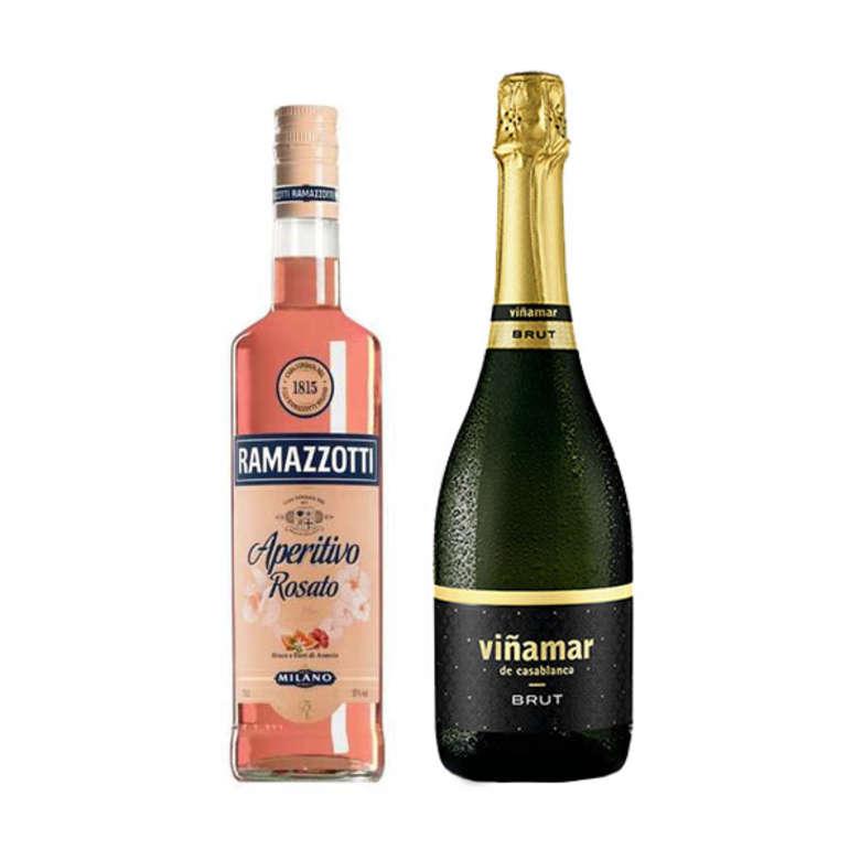 Pack Ramazzotti Viña Mar: Licor Aperitivo Ramazzotti Rosatto 700cc + Espumante Viña Mar Brut 750cc