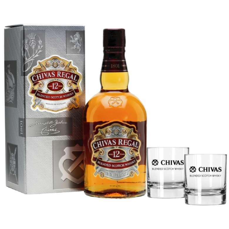 PACK CHIVAS + 2 VASOS: Whisky Chivas Regal 12 años 750cc 40º alc. + 2x Vaso Chivas Regal