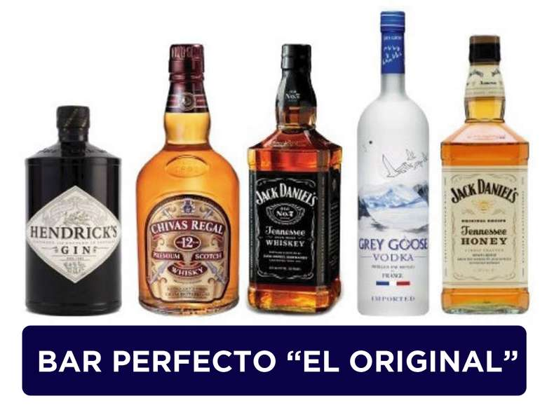 "EL BAR PERFECTO ""EL ORIGINAL"":  Gin Hendricks 700cc + Whisky Chivas Regal 12 años 750cc +  Whiskey Jack Daniels 750cc + Vodka Grey Goose 750cc + Whiskey Jack Daniels Honey 750cc."