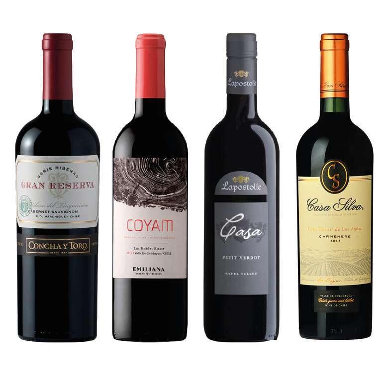 PACK VINOS PREMIUM Nº1: Vino Serie Riberas Cabernet 750cc + Vino COYAM 750cc + Vino Lapostolle Grand Selection Petite Verdot 750cc + Vino Casa Silva Gran Terroir Carmenere 750cc