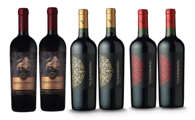 PACK VINOS RESERVA Nº4: 2x Bestia Negra Carmenere 750cc + 2x Vino Veramonte Carmenere Reserva 750cc + 2x Vino Veramonte Cabernet Sauvignon 750cc