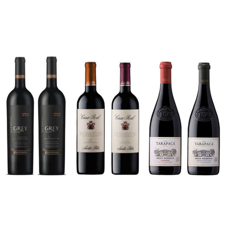 PACK VINOS GRAN RESERVA Nº8: Vino Ventisquero Grey Carmenere + Cabernet + Vinos Casa Real Carmenere + Cabernet + Vinos Tarapacá Gran Reserva Carmenere + Cabernet