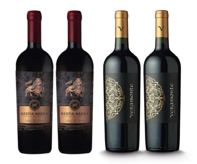 PACK VINOS RESERVA Nº2: 2x Vino Bestia Negra Cabernet Sauvignon 750cc + 2x Vino Veramonte Carmenere Reserva 750cc