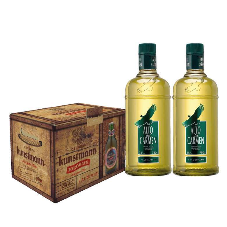 PACK TOROBAYO + 2x ALTO: 12x Cerveza Kunstmann Torobayo Botella 330cc + 2x Pisco Alto Del Carmen 750cc